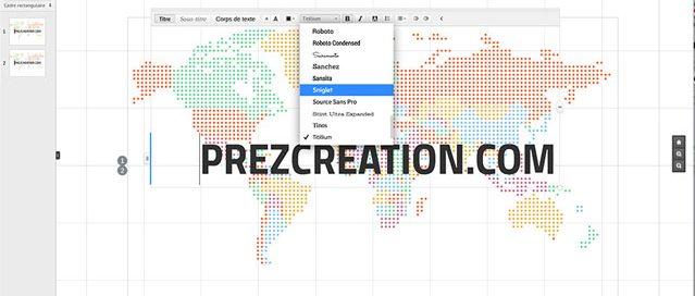 Nouveauté Prezi, la typographie qui ajoute de nombreuse possibilités