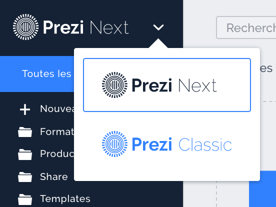 Aperçu de l'option switch sur la page et l'application Prezi