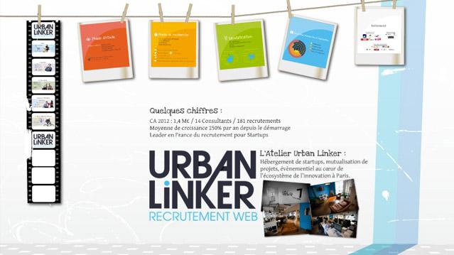 """Urban Linker à voulu que son prezi soit à l'image de son site, mais aussi correspondre à l'esprit """"geek"""" de l'agence de recrutement."""