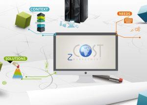 Réalisation et création d'un Prezi pour zCostManagement spécialisé dans les logiciels mainframe. Une production d'un prezi intégrant, illustrations vectorielles et iconographie ainsi qu'une animation.