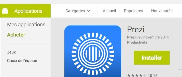 Prezi disponible sur Android.