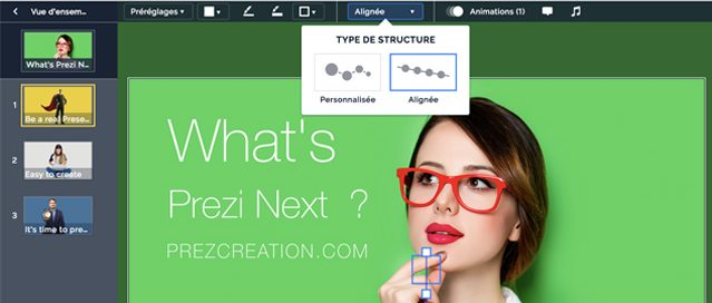 Exemple de customisation ou personnalisation des sous-rubriques avec Prezi next